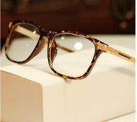 Wholesale 2014 Fashion vintage eyeglasses women optical eyewear plain mirror frame eye glasses men Metal Gold Leg Gafas Oculos de sol G297