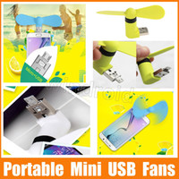 Wholesale Cheap usb Mini Micro in USB Fan Portable Fan for Mobile Cell Phone iphone plus Power Bank Laptop PC Tablet colorful Free DHL