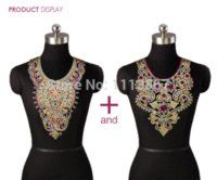 Wholesale 2pc Craft Gold Thread Floral Sequin Embroidery Lace Patches Decorated Sew on Necklace Neckline Collar Applique Trims Women t524A M66767