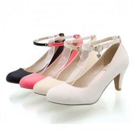beige mid heel pumps - Ladies Retro Vintage Mid Heel Pumps Court Mary Janes Ankle Strap Shoes US4