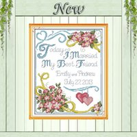 anniversary cross stitch - Wedding anniversary love flower decor painting counted print on canvas DMC CT11CT Cross Stitch kits Needlework Embroidery Sets
