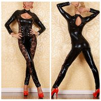 women leather sexy lingerie - 2015 New Black Leather Zentai Latex Catsuit Women Sexy Club Wear Open Bust Costumes Bondage Restraint Lingerie Sexy Bodysuit