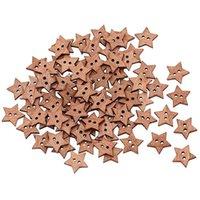 Cheap New100Pcs 2 Holes DIY Star Shape Wooden Button Scrapbook Craft Sewing Buttons