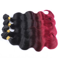 Cheap Ombre Hair Extensions Brazilian Body Wave Two Tone Color 100% Human Hair Weaves Brown Burgundy Red Free Shipping