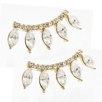 Wholesale 2015 New Pair Fashion Silver Plated Rhinestones Eyelash Style Crown Ear Stud Earrings