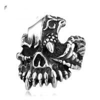 Cheap Cluster Rings biker skull Best Men's Party skull ring