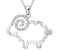 Cheap 2015 New Jewelry Austrian Crystal Chinese Goat Sheep Pendant 925 Sterling silver Necklace for Wedding Party