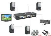 Wholesale New Portable Ps2 KVM Ports Selector VGA Print Auto Switch Box KVM Vga Keyboard And Mouse Sharing HZ