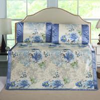 Wholesale Supersoft Foldable rattan summer sleeping mat Sheet amp Pillowcase Sets ice silk mat