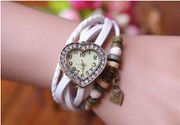Wholesale New Arrival Quartz Watch Leather Women Vintage Watches Love Heart Clock Ladies Wristwatches Heart shaped Pendant design