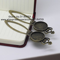 Wholesale 8 pieces Antique Bronze Alloy Cameo Imperial Crown Bookmarks mm Round Cabochon Settings Jewelry Blank Charms