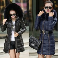 Wholesale Fashion Luxurious Fur Collar Warm Coats Woman Long Outerwear Sashes Thicken Down Parkas Jacket For Women Winter Clothing