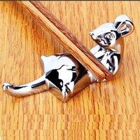 Wholesale Selling funny Novelty Stainless Steel Silver Mouse Table Decoration Dinnerware Chopstick Holder Spoon Fork knife Rest Stand