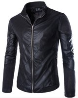 Wholesale Leather Jacket Men Stand Collar Autumn New Men s leather Jacket Locomotive style Men s Slim Fit Leather Clothing Black