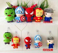 Wholesale The Avengers stuffed toys Spider Man Hulk Superman iron Man Raytheon Captain America Stuffed Animals Cartoon lovely Keychain Plush Toys