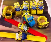 bendable glasses - 50Sets Christmas Gift Despicable Me Cute Cartoon Watch set Slap Snap Bendable Kids Silicone Watches Free DHL