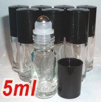 perfume glass bottle - New Refillable ml oz MINI ROLL ON fragrance PERFUME GLASS BOTTLES ESSENTIAL OIL Steel Metal Roller ball PB82