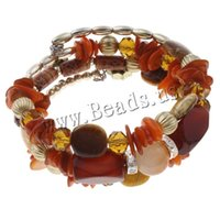 Cheap Wholesale-Free shipping!!!Memory Wire Bracelet,for Jewelry, Red Agate, with Wood & Copper Coated Plastic & Zinc Alloy, plated,