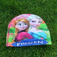 Wholesale Romance sided printing snow Snow Queen Children s swimming cap swimming cap