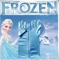 Wholesale Full Finger Gloves Frozen Elsa Gloves Kids Gloves Costume Long Blue Gloves Snow Queen Elsa Cartoon Party Costumes Children s Gloves