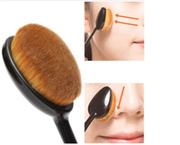 Wholesale 2016 New Pro Powder quot toothbrush quot Foundation Brush Facial Makeup Brushes Nylon Black Curve Oval Makeup Tools Accessories
