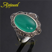 Cheap FG Size 7-9 Fashion Punk Rock Ring Jewelry Ancient Ways Green Black Stones Female Personality Finger Rings