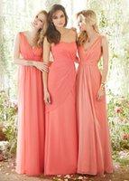 Wholesale 2014 Coral Chiffon Long Bridesmaid Dresses Cheap V Neck A line Pleated V Back Floor Length Prom Bridesmaid Dresses China DL1313687