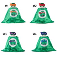 Wholesale L70 W70CM Teenage Mutant Ninja Turtles Reversible Superhero Cape Cape Mask Set Cartoon Cosplay Costume for Kids