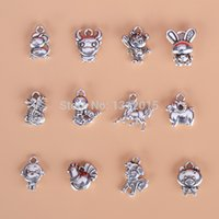 zodiac charms - tibetan antique silver Chinese zodiac charm mascot small pendants for DIY handmade jewelry accessories material