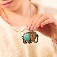 Wholesale 2016 New Elephant Rhinestone Necklace Retro All match Long Sweater Chain Jewelry High Quality Kawaii Necklace Pendant For Girls Women
