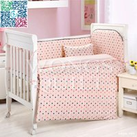 Wholesale New Arrivals Children s Bedding Sets P Cotton Dots Printing Crib Bumper Baby Cot Sets Baby Bed Bumper Solf for Girls Boys