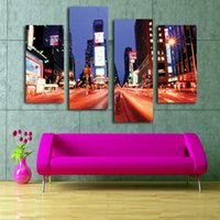 Wholesale Hot sale Stretched ready to hang Pieces printed art painting beautiful living room Decor Canvas prints art from HD photo time Square