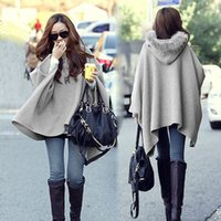 Wholesale 2015 New Fashion Women Unique Poncho Button Woollen Coat Lady Winter Warm Hooded Poncho Batwing Cape Cloak Coat Jacket Outerwear