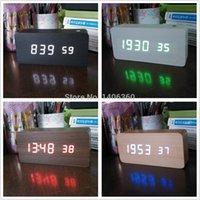 antique wood desks - Wood Design Variety colos LED digital Acoustic Alarm Clock Temperature Calendars display Battery USB power electronic desk clock