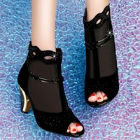 Wholesale 2015 fashion peep toe shoes cut out rhinestone shoes lace dress shoes sequins shoes kitten heels shoes for women ankle boots size