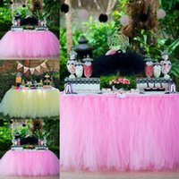 Wholesale Vintage Pink Tulle Tutu Table Skirts Puffy Tulle Sash Around Table Wedding Party Formal Event Wedding Suppliers Birthday Party Accessories