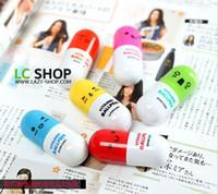 abs pills - Lovely expression pills retractable pen ballpoint pen cartoon smiley T ABS paragraph pills pen LX