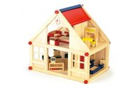 Wholesale Doll House With Furniture Handmade Dolls House Primary Color Wood Diy Birthday Gifts D Puzzles For Girls Dream House Children