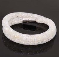 Beaded, Strands beaded double wrap bracelet - Newest stardust double bracelets mesh chain with full resin crystal inside magnetic wrap bracelet charm bracelet
