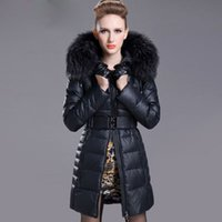 women winter warm long jacket - on sales large Down coat warm fur leather Winter Woman Long Down coat with hat Style white Duck Down Slim Fashion jacket