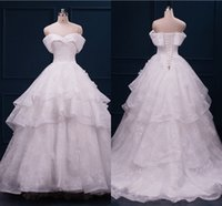 Wholesale Luxury Wedding Dress Off The Shoulder Tiered Ruffled Lace Chapel Train Lace Up Bride Ball Gown Custom Made