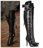 Hot Booties Knee High Boots T-shown Name Brand Women Boots High Heels Fashion Motorcycle Boots Knee Buckles Tassel Shoes Woman