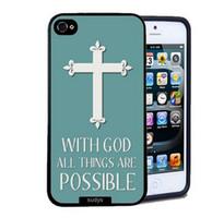 al por mayor al por mayor de la manzana verde-Caja del teléfono verde al por mayor de moda de la Cruz Blanca de diseño de plástico duro móvil para el iPhone 4 4S 5 5S 5C