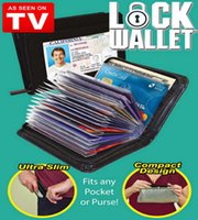 Wholesale 2016 hot Lock Wallet Amazing Slim RFID Black Leather Wallet Fraud Product With Zipper Plain Card Holder Women Mens Wallets Fast shipping