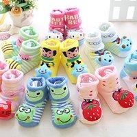 baby doll booties - Cartoon Doll Baby Socks Booties Newborn Baby Cotton Winter Socks pair Baby anti slip fashion Baby Socks for month