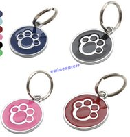 Wholesale Metal Dog Paw Style Dog Name Dog Necklace Tag Pets Identity ID Card For Pets Fashion Key Chain Pet Collar Charm