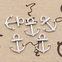 achat en gros de collier ancre antique-200pcs Charms ancre 19 * 15mm antique, pendentif en alliage de zinc en forme, argent tibétain vintage, bricolage pour bracelet collier