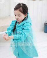 Wholesale Fashion Hot Baby Girls Clothes Snow Queen Elsa Blue Gauze Coat Princess Raincoat Jacket