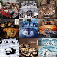 Cheap 3D Deer Tiger Wolf bedding set queen size 4pcs Animal printed duvet comforter cover bedclothes bed sheet set cotton home textile