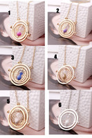 Wholesale chic High quality Harry Potter Hermione Granger Rotating Time Turner Necklace Gold Hourglass E30J